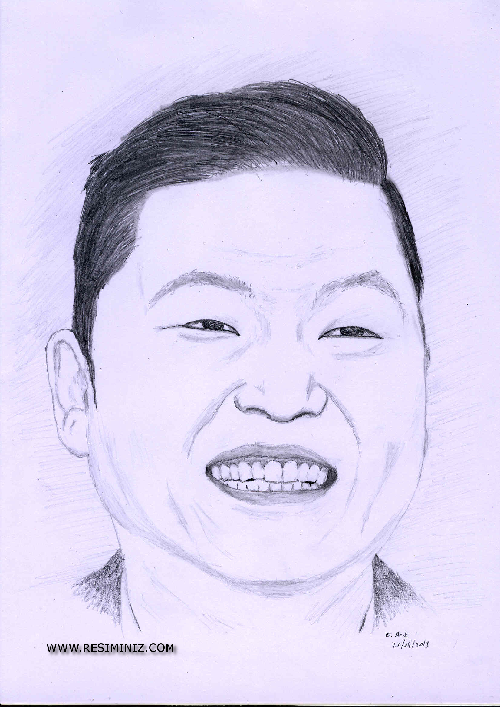 psy gangnam style - charcoal drawing